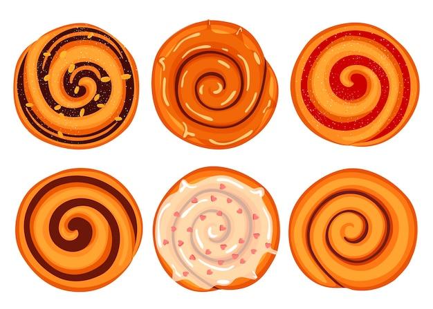 Brioche à la cannelle, produits de boulangerie. illustration en style cartoon.