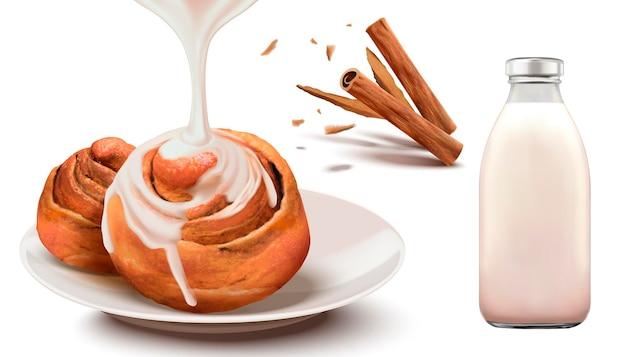 Brioches à la cannelle avec du lait concentré et du lait en bouteille dans un style 3d