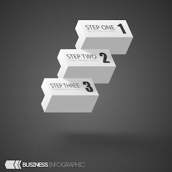 Briques blanches infographiques avec trois étapes sur gris