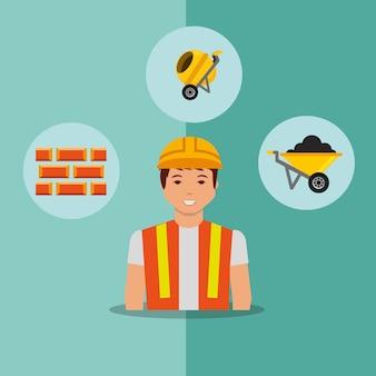 Briques de travailleur de construction bétonnière et brouette outils