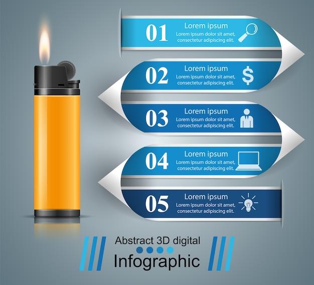 Briquet réaliste - icône infographie et marketing d'entreprise
