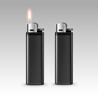 Briquets en plastique noir avec flamme sur fond