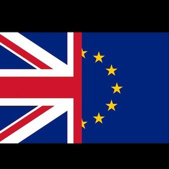 Britanniques et européens drapeaux notion