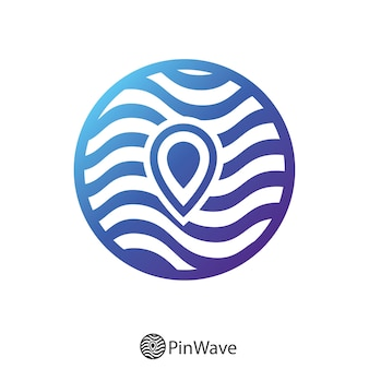 Broche carte et logo cercle ondulé