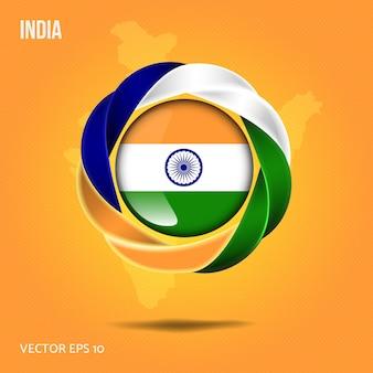 Broche drapeau inde