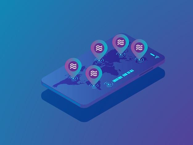Broche d'illustration de la pièce de balance avec la carte du monde sur isométrique vecteur smartphone mobile