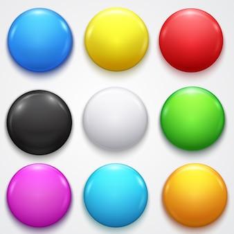 Broche d'insigne de bouton de cercle vide de couleur vide 3d réaliste définie présentation de l'élément avant et publicité au détail.
