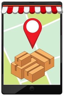 Broche de localisation sur l'application mobile