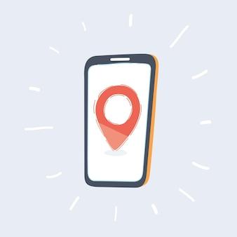 Broche de localisation rouge sur l'écran du téléphone