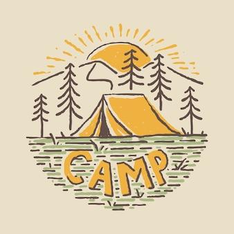 Broche de patch badge camping nature adventure wild line