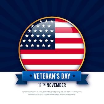Broche réaliste avec le jour des vétérans du drapeau américain