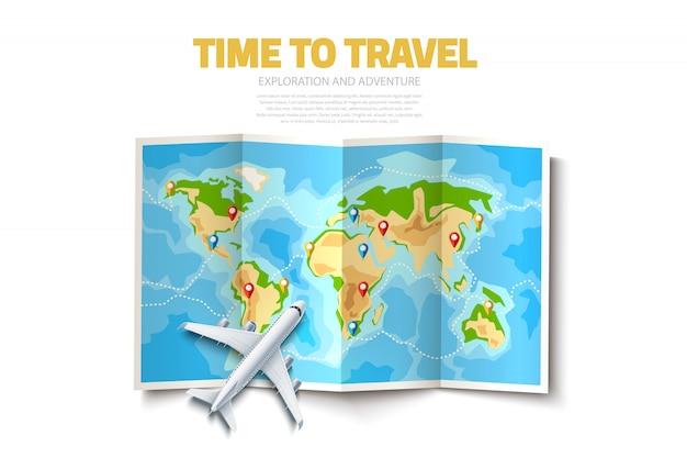 Broches de pointeur de destination carte du monde pliée vecteur
