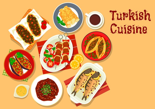 Brochette de kebab shish cuisine turque avec aubergines farcies