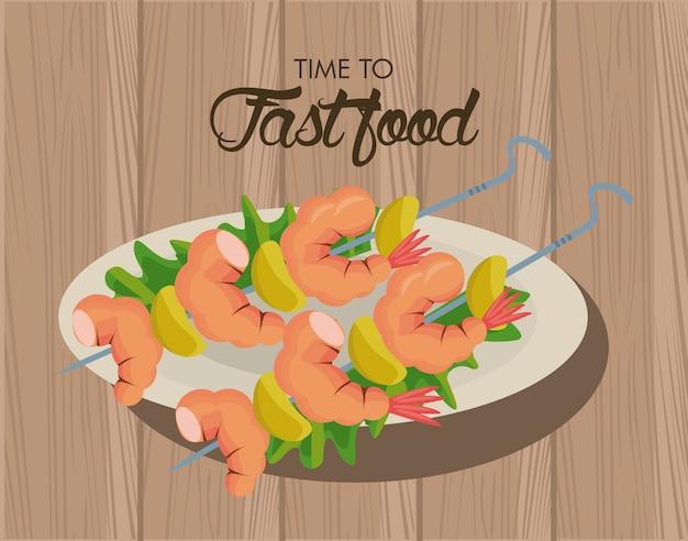 Brochettes de crevettes dans un plat délicieux fast-food icône illustration