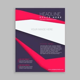 Brochure d'affaires flyer template dans des couleurs pourpres et roses