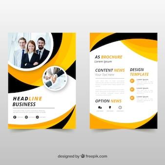 Brochure d'affaires jaune et noir ondulé