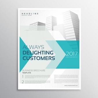 Brochure d'affaires modèle de dépliant avec la flèche et la forme géométrique et bâtiments