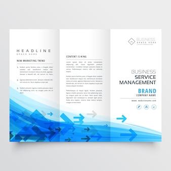 Brochure d'affaires de style flèche géniale modèle à trois faces en couleur bleue