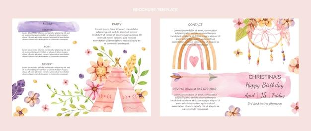 Brochure d'anniversaire boho aquarelle