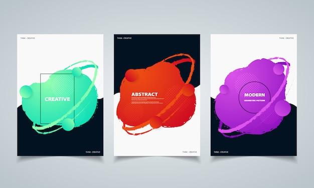 Brochure de bannières de cercle coloré abstrait forme géométrique fluide.