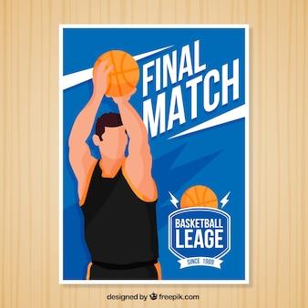 Brochure de basket-ball bleu