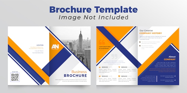 Brochure bifold business orange et bleu foncé