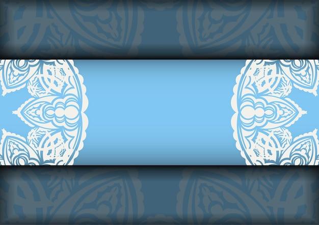 Une brochure bleue à motifs blancs antiques pour votre marque.