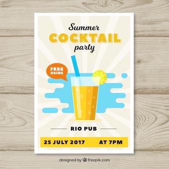 Brochure de cocktail au design plat