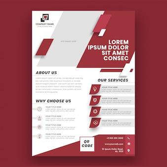 Brochure commerciale de modèle de mise en page de couleur rouge et blanc, modèle ou conception de flyer.