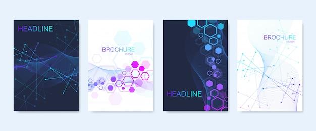 Brochure commerciale, modèles de couverture. composition abstraite avec structure de molécule, points, lignes. flux de vagues. science, médecine, conception technologique