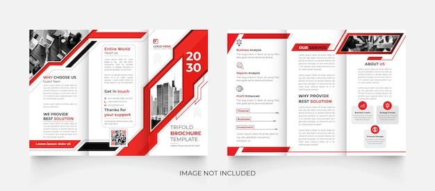 Brochure commerciale moderne à trois volets rouge et noir