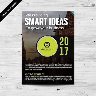 Brochure commerciale noire avec détails verts