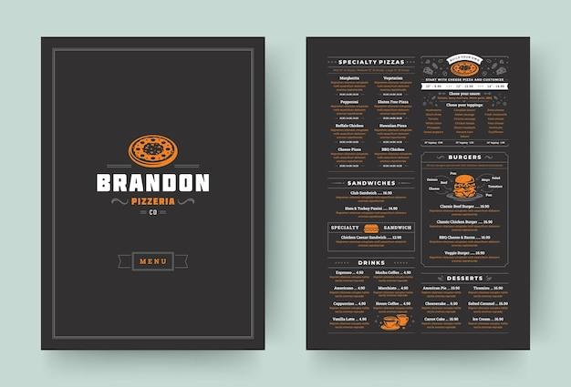 Brochure de conception de disposition de menu de restaurant de pizzeria ou illustration vectorielle de modèle de flyer