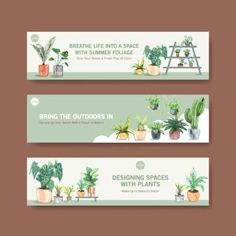 Brochure de conception de modèle de bannière de plantes d'été, dépliant, publicité et livret illustration aquarelle