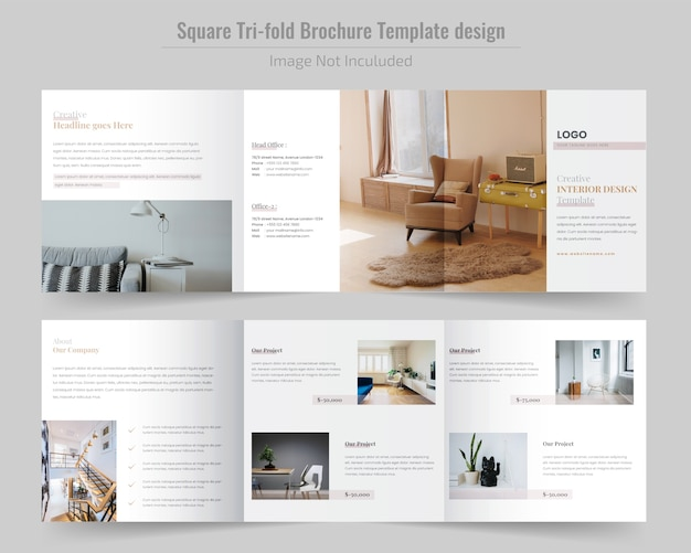 Brochure construction square tri fold