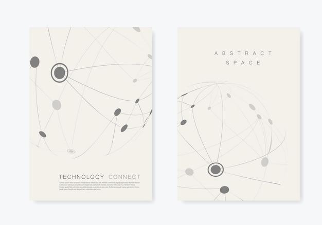 Brochure de couverture avec ligne et points connectés