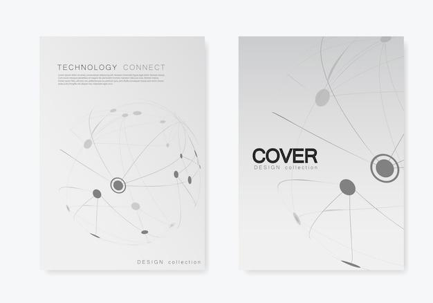 Brochure de couverture avec ligne et points connectés.