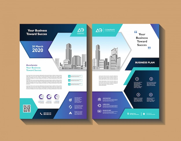 Brochure de couverture de proposition brochure template design set