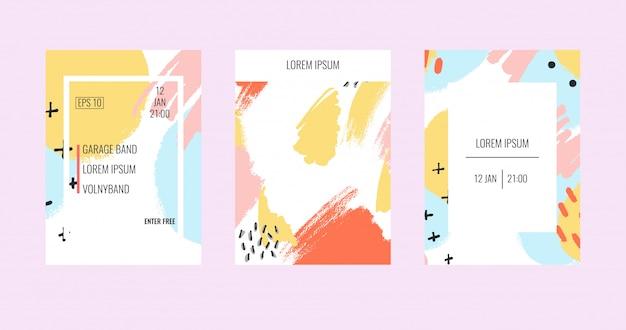 Brochure créative avec des arrière-plans pastels abstraits.