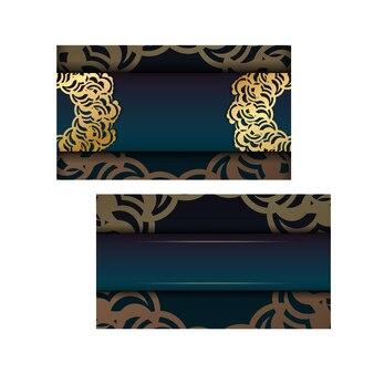 Brochure dégradé vert dégradé avec ornement indien en or pour votre marque.