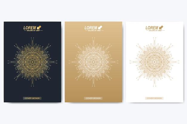 Brochure, dépliant, flyer, couverture, catalogue, magazine au format a4. présentation avec mandala doré