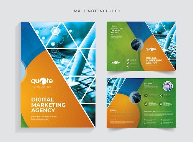 Brochure à deux volets de style triangulaire