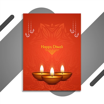Brochure du festival indien happy diwali de couleur rouge avec lampes
