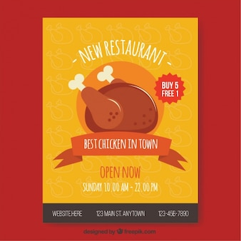 Brochure du menu des restaurants de poulet