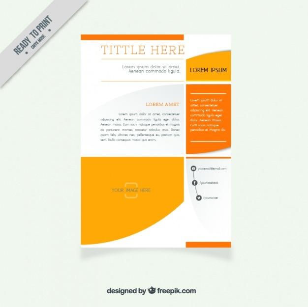 Brochure du modèle abstrait avec des détails orange,