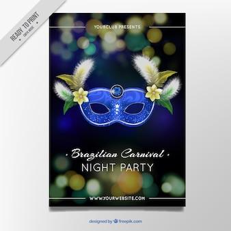 Brochure élégante brouillé avec un masque de carnaval