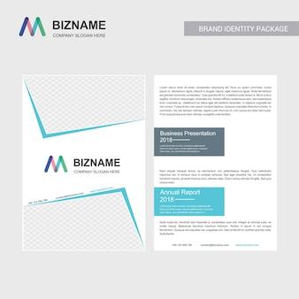 Brochure d'entreprise avec un design élégant et aussi avec le logo m