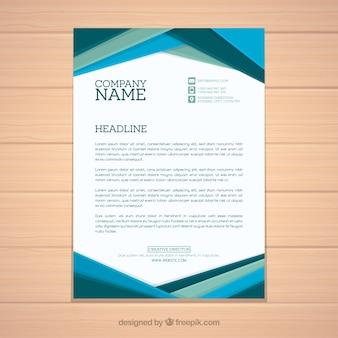 Brochure d'entreprise avec formes plates bleues
