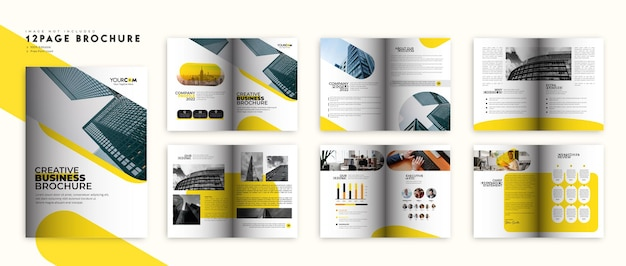 Brochure d'entreprise jaune et noire ou mise en page du modèle de profil d'entreprise