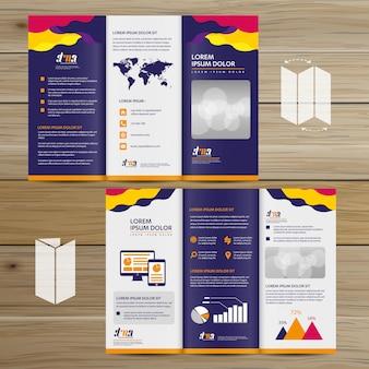 Brochure entreprise tri fold leaflet flyer conception de vecteur